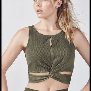 Fabletics Talia Tank XL in Washed Army